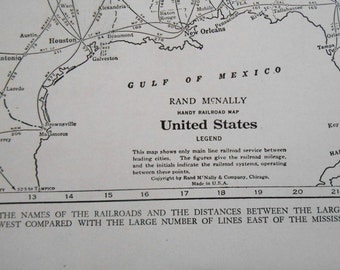 Railroad Map Etsy - Old us railroad map