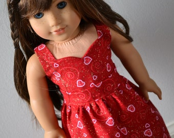 18 inch Doll Clothes - Sparkle Hearts Sweetheart Dress - PINK RED - Pretty Dress - Valentine's Day - Love - fits American Girl
