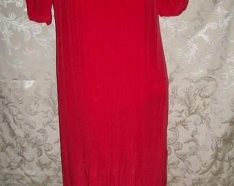 Vintage 80s Red Silk Dress Size 2