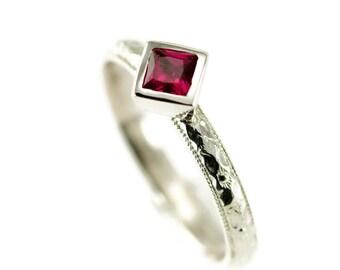 Princess Cut Ruby Stack Ring - Peridot Sterling Ring - Choose Your 4mm Gemstone