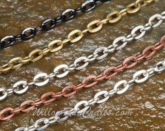 """10 Metal Necklace Oval Chain  24"""" in Silver, Antique Copper, Antique Silver, Black and Antique Bronze,"""