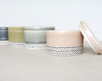 Ceramic Herringbone Salt Cellar in Peach- Made to Order