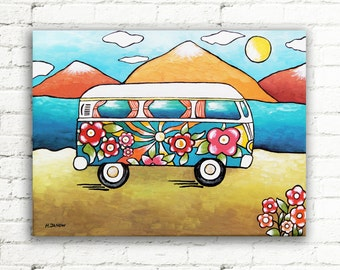 VW Painting, Van Wall Art Original Painting on Canvas, Volkswagen Bus Acrylic Painting, Hippie Van Art Kids Room Decor 9x12