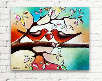 Valentines Day Gift Love Birds Art Original Acrylic Painting Wall Decor Whimsical Bird Painting on Canvas 8x10x1.5