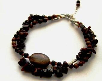 Beaded bracelet. Brown gemstones & Sterling silver. Landscapes