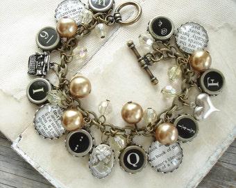 Storybook Romance - Assemblage Charm Bracelet. Typewriter Key Bracelet. Literary Bracelet. Dictionary Jewelry. Eco Friendly Bookish Gift.