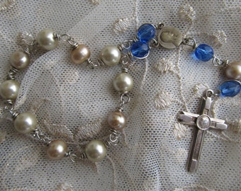 Danusharose  Vintage Royal Blue with Taupe Pearls  from Ross Simmons Glass Pearls from Maui Lourdes cross One Decade pocket rosary Rosary