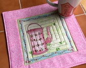 Tea and Sweets - Mug Rug or Candle Mat  Oversized Teapot / Watering Can