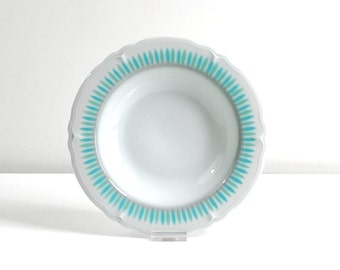 Vintage Mid Century Modern Shenango China Turquoise and Mint Petals Restaurant Ware Bowl