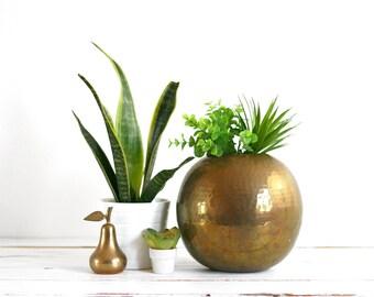 Vintage Large Hammered Brass Ball Planter