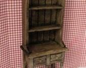 Dollhouse Narrow Kitchen Hutch Tudor  Dresser Hutch mini hutch  narrow hutch dark oak  twelfth scale dollhouse miniature