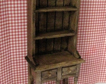 Dollhouse Narrow Kitchen Hutch, Tudor  Dresser, Hutch, mini hutch , narrow hutch, dark oak,  twelfth scale dollhouse miniature