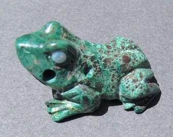 Drilled Malachite and Cuprite Frog Pendant or Focal Bead-Opal Eyes