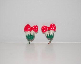 Teeny, Tiny Toadstool Twins Polymer Clay Terrarium Miniatures