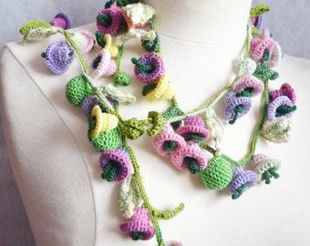 Crochet necklace lariat cotton flower floral bright 3d flowers