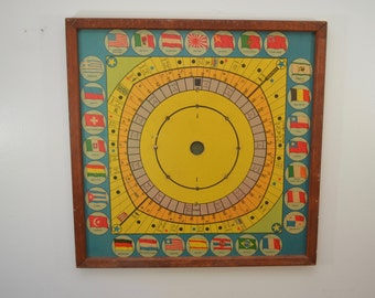 Vintage 1920's BOARD GAME large unknown Blockade Shipping themed wood framed