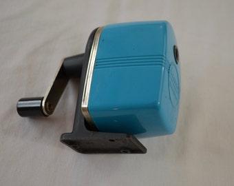 Vintage APSCO BLUE pencil sharpener made in USA table screw mount