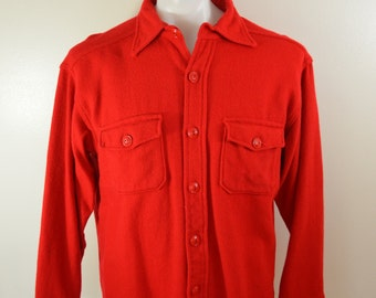 Vintage MELTON WINTERMASTER Wool Long Sleeve Shirt size Large made in USA