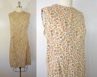 Vintage Sleeveless Cotton Floral Shift Dress 40s or 50s Era Zipper Back Earth Tones