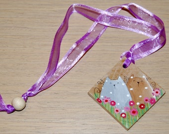 hand painted wood bookmark cat cats owl owls