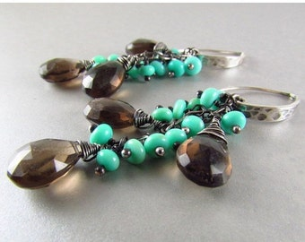25% Off Summer Sale Smoky Quartz and Blue Peruvian Opal Oxidized Sterling Silver Dangle Earrings