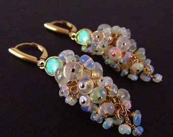 20 % Off Ethiopian Welo Opal Gold Filled Cluster Lever Back Earrings