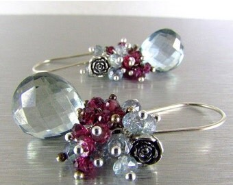 20 % Off Pale Blue Quartz With Rhodolite Garnet Sterling Silver Cluster Earrings