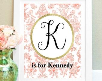 Personalized Nursery Print, Baby Girl Nursery Wall Decor, Custom Name Print, New Mom Gift, Nursery Art, Child Wall Art, Coral Nursery Art