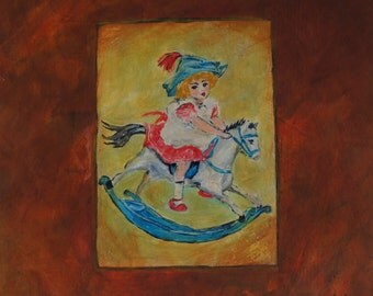 Little Girl on a White Rocking Horse An Original Acrylic Nursery Painting by Joan Princing Art