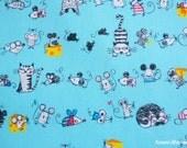 Kawaii Japanese Fabric - Cats & Rattus on Blue - Half Yard (ta20160427)