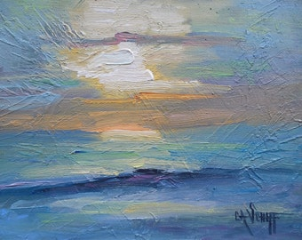 "Impressionist Seascape Sunrise Oil Painting, 6x8"" original art, Daily painting"