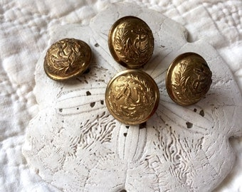 Antique Brass Shank Dome Navy Military Uniform Buttons - Anchor with Laural/Olive Branch - Possibly 1880s (4)
