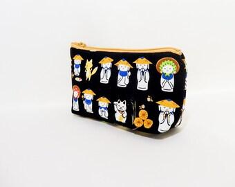 Fabric Zipper Pouch, Jizo Statue Pouch, Zipper Pouch, Cute Pouch, Coin Purse, Clutch, Black Pouch, Fabric Pouch, Gift Under 20, Zipper Case