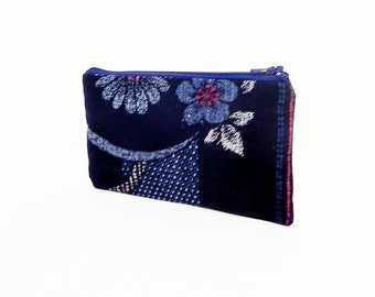Floral Pouch, Small Zipper Pouch, Fabric Pouch, Small Cosmetic Bag, Small Make Up Bag, Indigo Fabric Pouch, Small Zipper Case, Floral Case