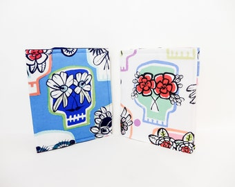 Fabric Wallet, Day of the Dead Wallet,  Bi-Fold Wallet, Passport Cover, Skeleton Wallet, Wallet for Women, Day of the Dead in Blue or White
