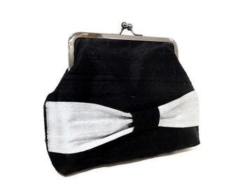 Silk Clutch, Silk Bag, Clutch, Handbag, Purse, Wedding Purse, Black Silk Clutch, Gift for Her, Gift Under 50, Black with Bow, Evening Clutch