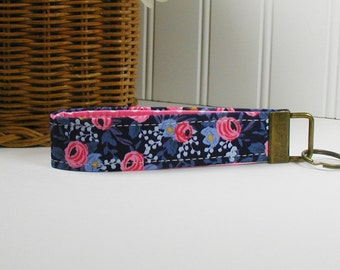 Key Fob Wristlet, Fabric Key Chain, Wrist Key Chain ..Les Fleurs Rosa in Navy, Rifle Paper Co