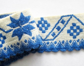 Blue Woven Ribbon Lace Trim