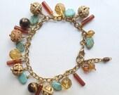 50% OFF SALE Colorful Wire Wrapped Gemstone Dangle Bracelet, Brass, Turquoise, Tiger Eye Citrine Carnelian, Carved Bone, Boho Chic