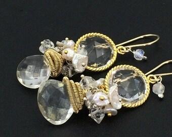 20% SALE Clear Quartz Dangle Earrings Wire Wrap Coiled 14k Gold Fill Silver Mystic Quartz Gemstone Wedding Earrings Bezel Set White Earrings