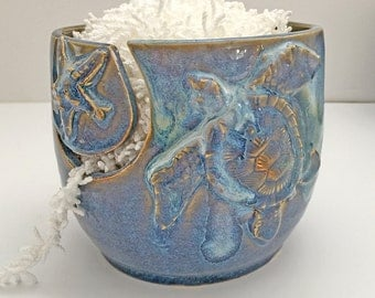 Yarn Bowl for Knitting and Crochet - Turtle Bowl - Tropical Beach Life - Handmade Pottery - Blue