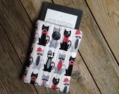 Red Black Kitty Cat Kindle Paperwhite Sleeve - Case - grey - cover - modern - graphic - reader gift - Mustache
