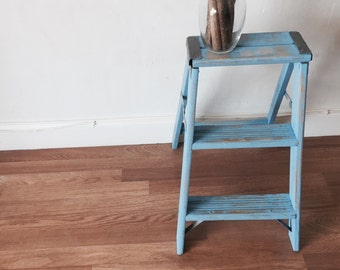 Vintage  shabby chic blue  ladder