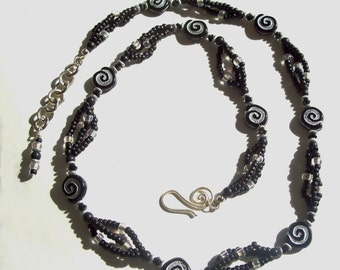 Black and Silver Nautilus Seashell Motif Multistrand Necklace by Carol Wilson of Je t'adorn