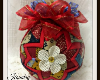 HANDMADE QUILTED Ornament/Patch Work  Ornament/Patch Work Quilted Ornament/ Handmade Quilted Ornament (Ready to Ship)