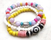 RESERVED FOR TREENA - Beaded boho bracelet set, bohemian gemstone bracelets, elastic hippie bracelets, boho stack bracelets