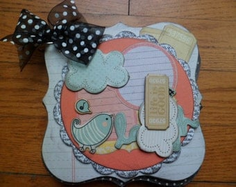 Life is Good Be Happy Scrapbook Mini Album, ready for your photos & journaling