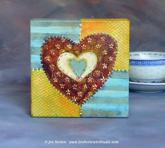 "Original Art, Yellow and Blue Painted Quilt Heart, 5 x 5"", gift for mom, love"