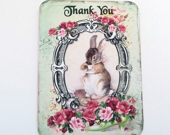 Thank You RabbitNote Cards, Blank Note Cards,Vintage Style,  Children Birthday, Baby Shower, Tea Party, Bunny Rabbit Notes, Thank You,
