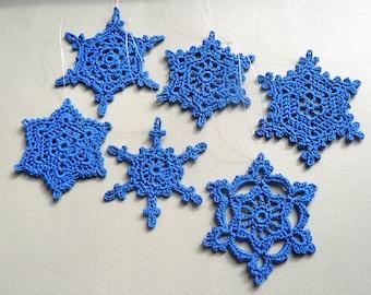 6 Crochet Snowflakes -- Large Snowflake Assortment CB3, in Cobalt Blue